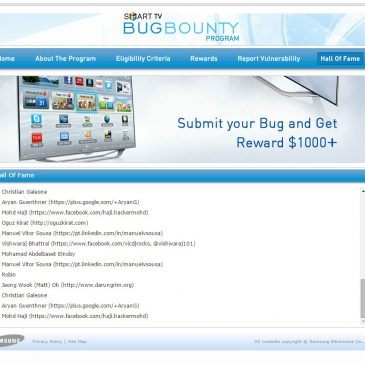 I'm On Samsung's Smart TV Bug Bounty Hall Of Fame List